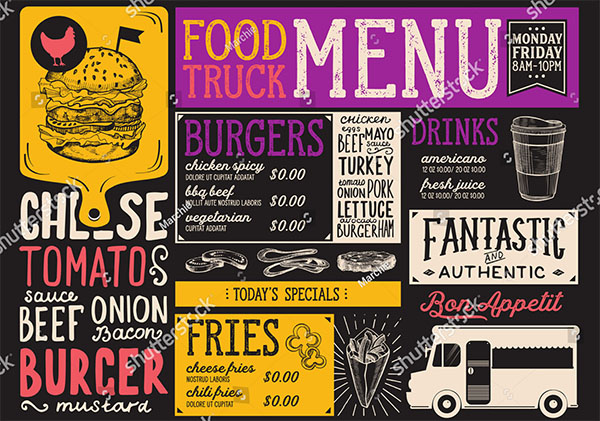 Food Truck Vector Menu For Street Festival