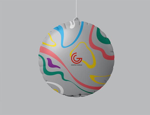 Free Advertising Hanging Air Balloon Mockup