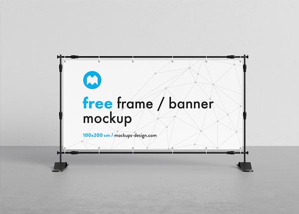 Free Banner Frame Stand Mockup