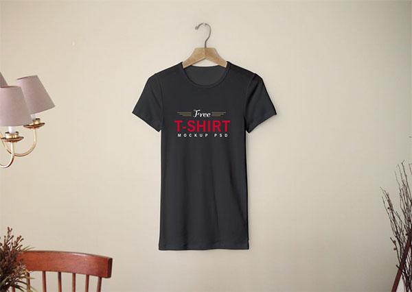 Free Blank Half Sleeves T-Shirt Mockup PSD Template