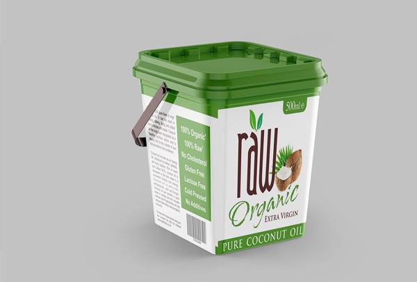 Free Coconut Oil Bucket Label Mockup