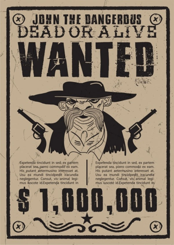 Free Cowboy wanted Poster Black and White