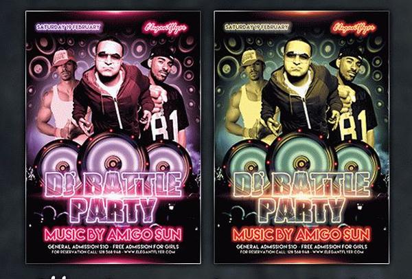 Free DJ Battle Party Flyer PSD Template