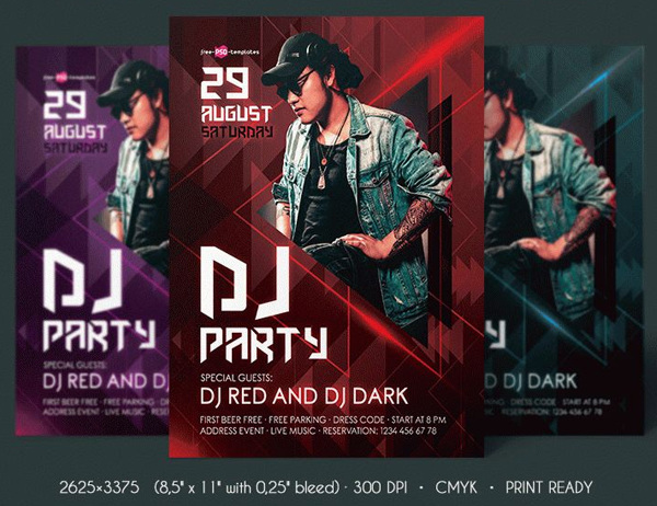 Free DJ Party Flyer PSD Template