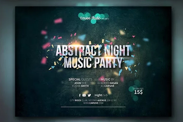 Free Download DJ Party Horizontal Flyer Template