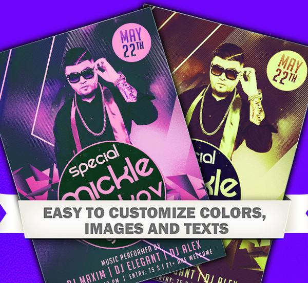 Free Electro DJ Party Flyer Template