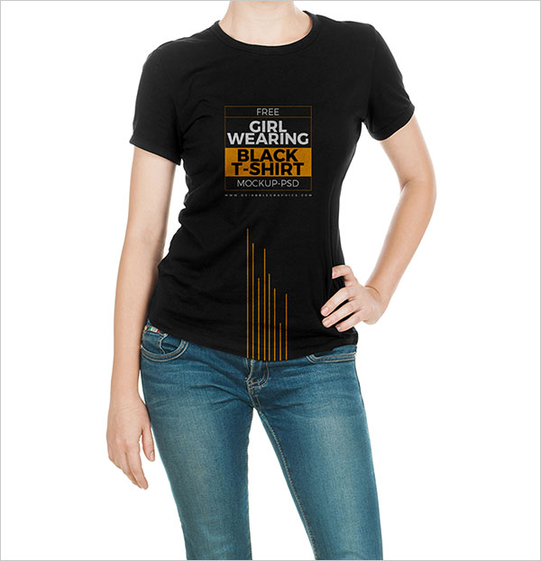 Free Girl Wearing Black T-Shirt Mock-up PSD