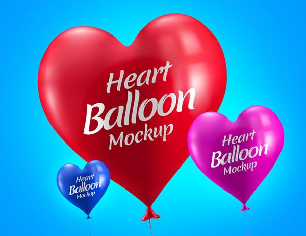 Free Heart Balloon Mockup PSD Template