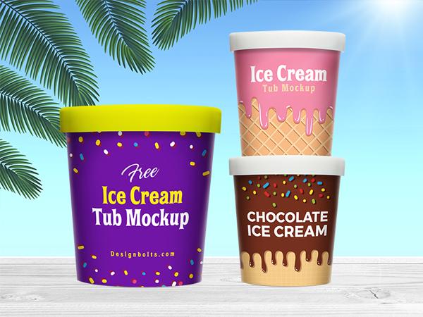 Free Ice Cream Bucket Tub Mockup PSD Template