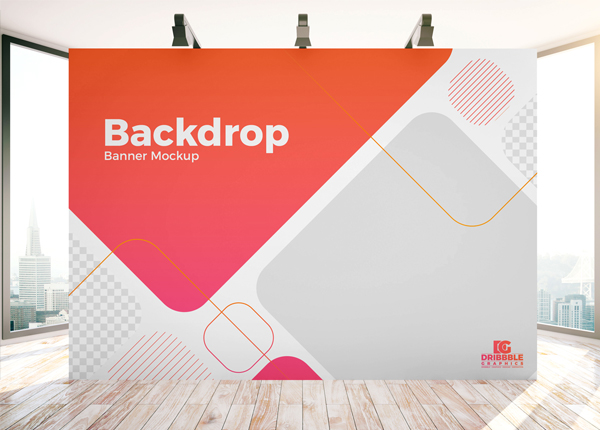 Free Indoor Advertisement Backdrop Banner Mockup PSD Template