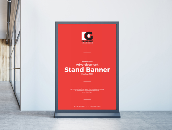 Free Inside Office Advertisement Stand Banner Mockup