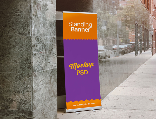 Free Outdoor Advertising Standing Banner on Road Mockup