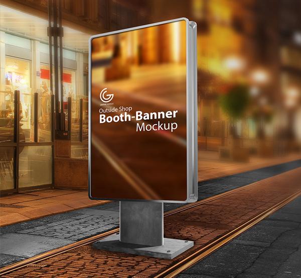 Free Outside Shop Banner Mockup