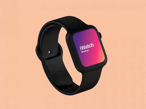 Free PSD Apple Watch with Rubber Band