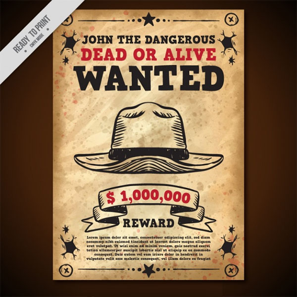 Free PSD Wanted Poster Template