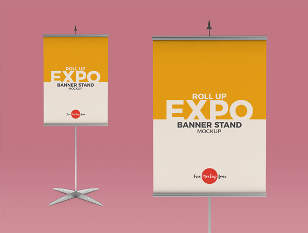 Free Roll Up Expo Banner Stand Mockup
