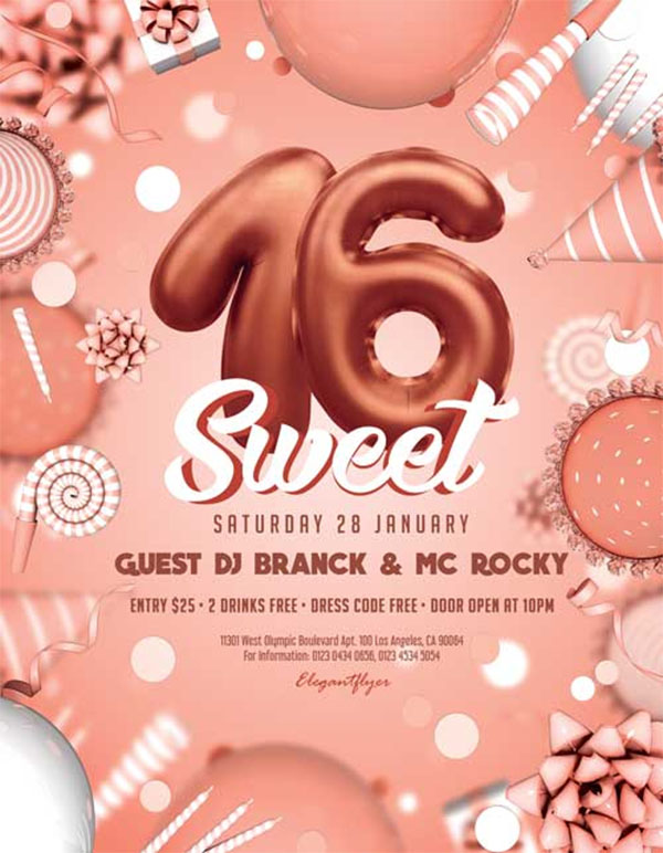 Free Sweet 16th Birthday Party Flyer Template