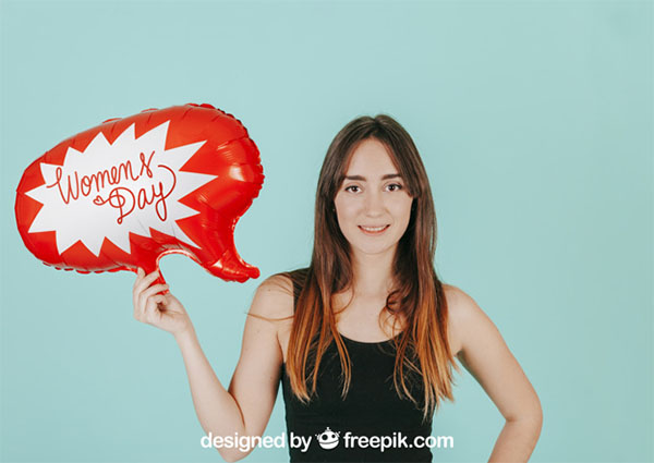 Free Woman with Speech Balloon