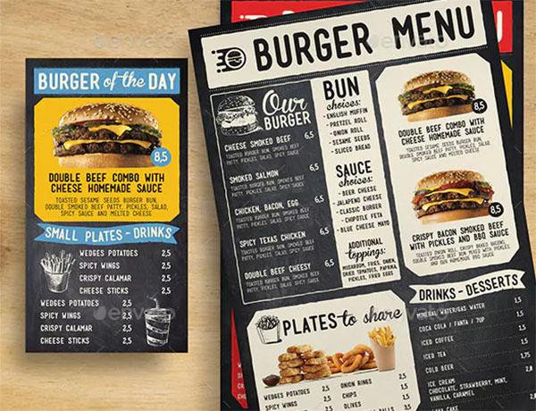 Fun Blackboard Burger Menu