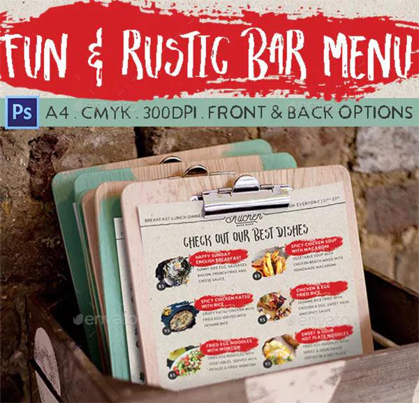 Fun & Rustic Bar Menu Template