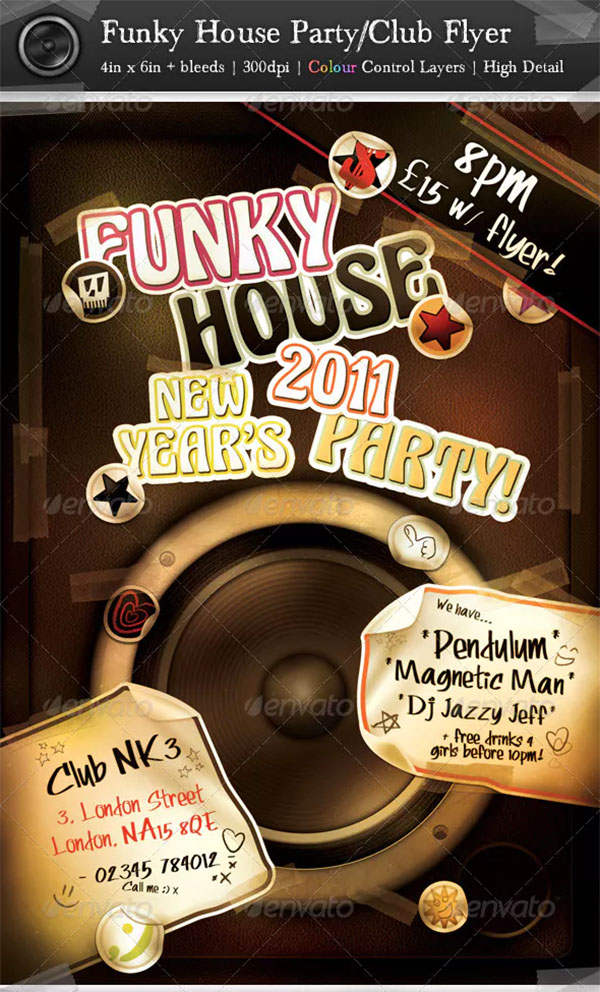 Funky House Party Club Flyer