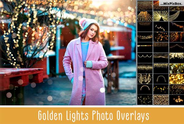 Golden Lights Photo Overlays