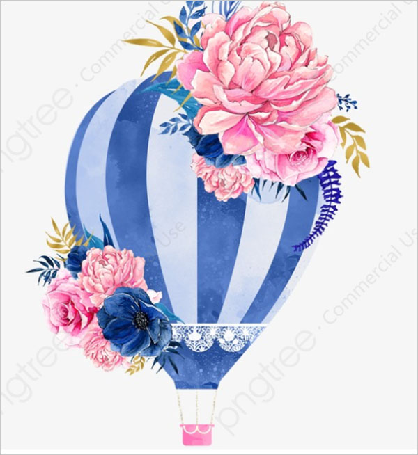 Hot Air Balloon Flowers Free PNG Clipart