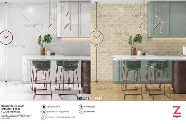 Kitchen PSD Floor Mockup