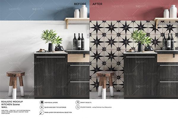 Kitchen PSD Wall Mockup