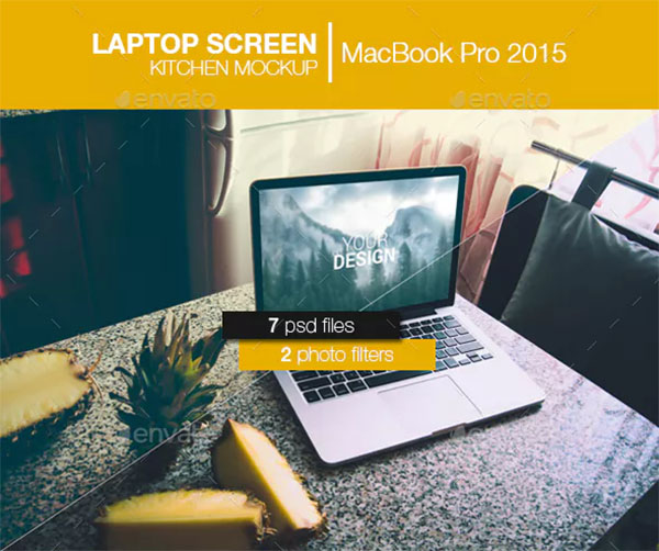 Laptop Screen Kitchen Mockup