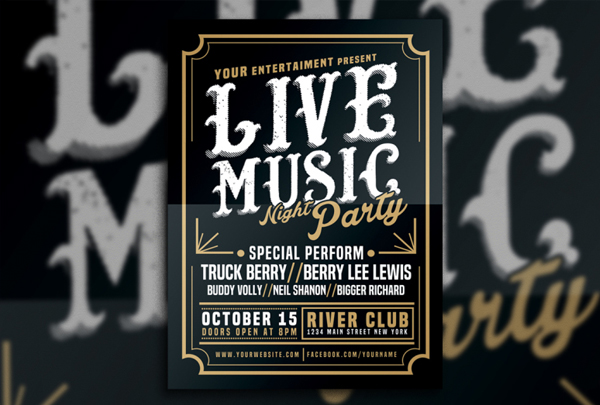 Live Music Typography Flyer