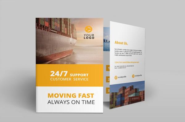 Logistic Service Bi-Fold Brochure Design Template