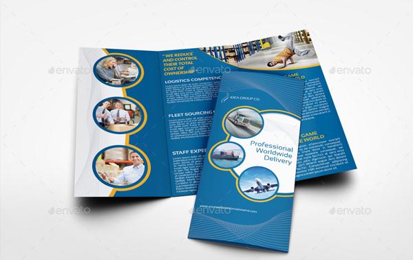 Logistic Services Tri-Fold Brochure Design Template