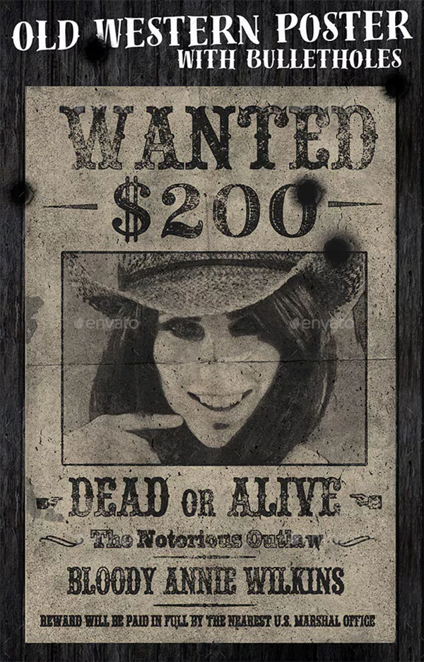 Old Western Vintage Wanted Poster