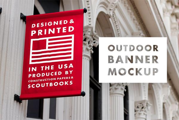 Outdoor Banner Mockup in Horizontal Format