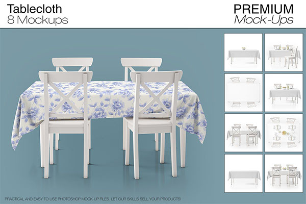 PSD Tablecloth Mockup Set Design