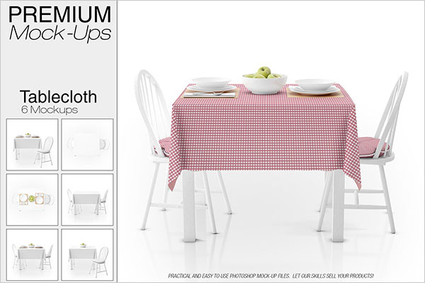 PSD Tablecloth Mockup Set