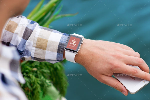 PSD Watch Mockups with River Behind