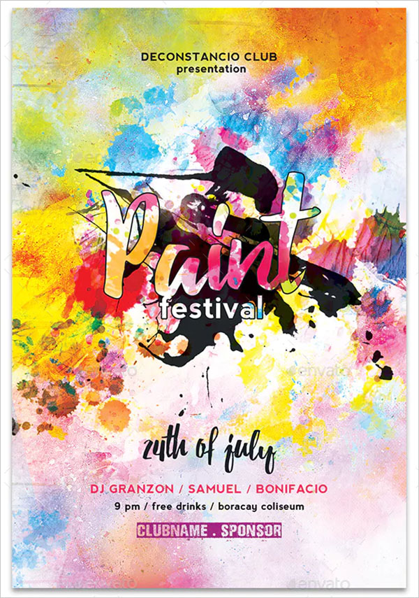 Paint Festival and Colors Flyer