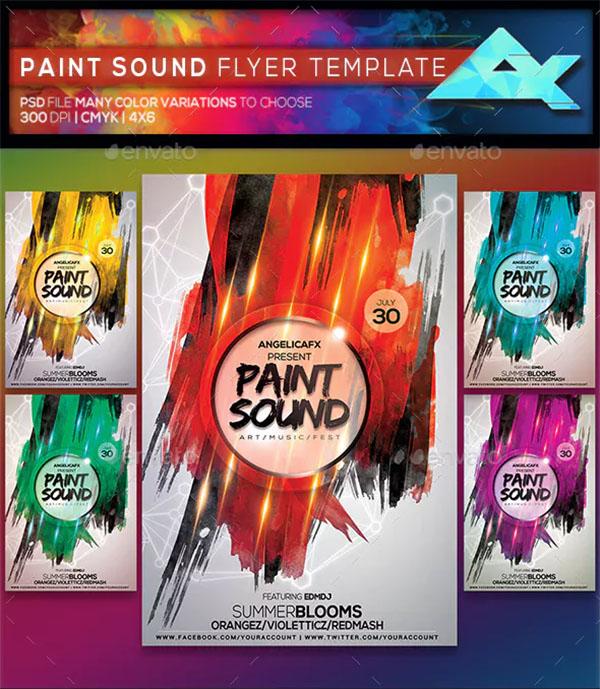 Paint Sound Photoshop Flyer Template