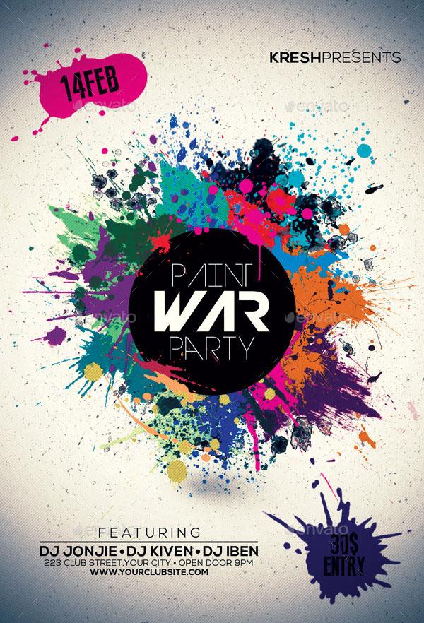 Paint War Party Flyer Template