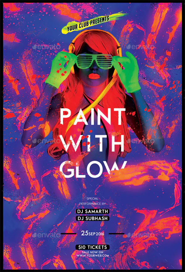 Paint With Glow Flyer Template