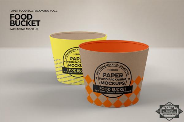 Paper Food Bucket Packaging Mock Up
