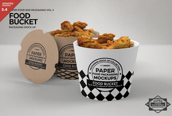 Paper Food Bucket Packaging Mockup