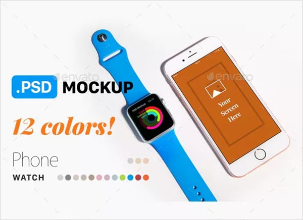 Phone & Watch PSD Mockup