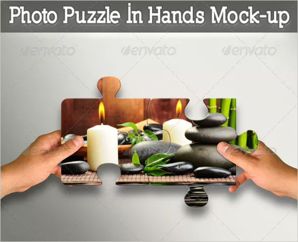 Photo Puzzle In Hands Mock-up