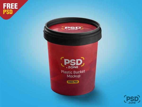 Plastic Bucket Mockup Free PSD Download