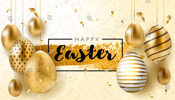 Realistic Golden Easter Banner Template