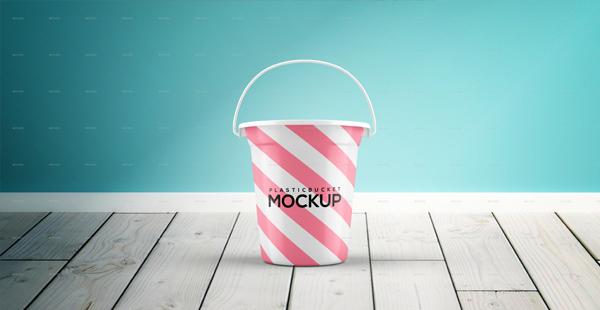 Realistic Plastic Bucket Mockup