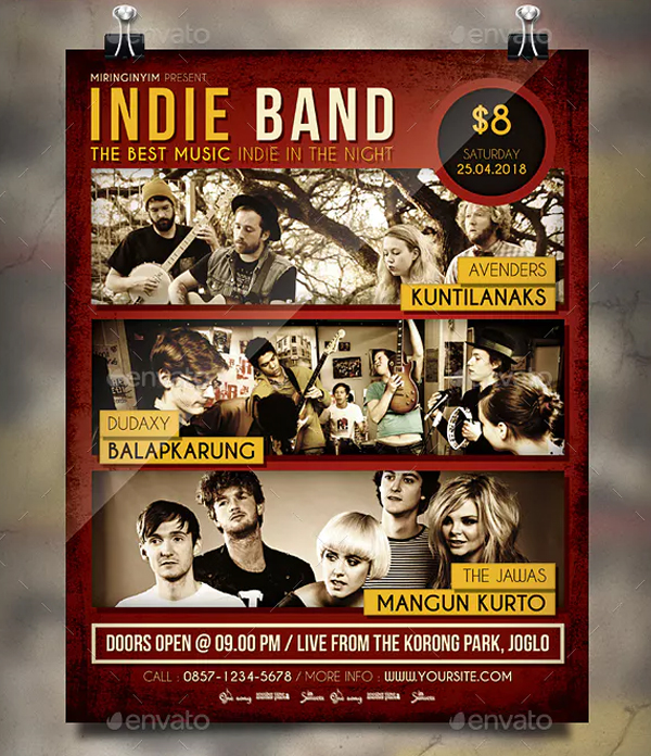 Retro Indie Band Flyer Template